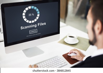 Scanning Files Searching Processing Anti-virus Concept