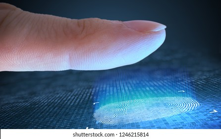 Scanning fingerprint from finger. Security and biometric concept.