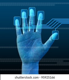 scanning of hand on a touch screen interface