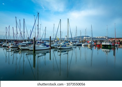SCARBOROUGH - April 7, 2018: yachts tied up in a Yorkshire harbour, UK.