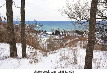 The Scarborough Bluffs landscape in Toronto as seen from the park above. Taken in winter after a substantial snowfall.