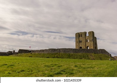 Scarborough castle ruins with stone wall