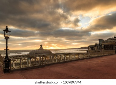 SCARBOROUGH, ENGLAND - FEBRUARY 24: Scarborough spa bandstand and sea at sunrise. In Scarborough, England. On 24th February 2018.