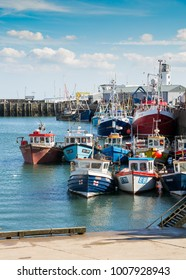 SCARBOROUGH, ENGLAND - SCARBOROUGH HARBOUR 26th AUGUST 2016, Fishing fleet moored at Scarborough Harbour, a popular tourist destination. UK 26th August 2016