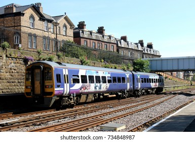 SCARBOROUGH, NORTH YORKSHIRE, ENGLAND - 19th of June 2017: Commuter training leaving Scarborough station on East Coast railway headed to York on the 19th of June 2017.