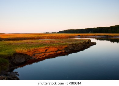 The Scarborough salt marsh at sunset.