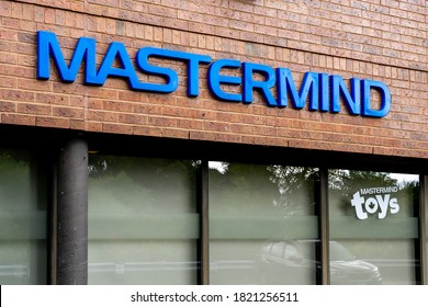 Scarborough, Toronto, Canada - September 23, 2020: Mastermind sign at Mastermind Toys Corporate office in Scarborough, Toronto, Canada. Mastermind Toys is a Canadian chain of toy stores.