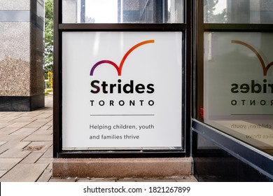 Scarborough, Toronto, Canada - September 28, 2020: Strides Toronto sign is seen in Scarborough, Toronto, Canada on September 28, 2020, an agency addressing the needs of children, youth, their parents