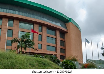 SCARBOROUGH, TRINIDAD AND TOBAGO - JANUARY 11, 2019: Facade of the imposing Shaw Park Cultural Complex in Scarborough, Tobago on a cloudy afternoon. The venue hosts music and sporting events.