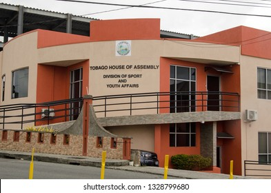 SCARBOROUGH, TRINIDAD AND TOBAGO - JANUARY 11, 2019: Headquarters of the sport and youth affairs division of Tobago's House of Assembly on a cloudy day in January.