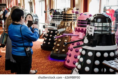 Scarborough, UK - April 08, 2017: Dalek models from 'Doctor Who' being photographed by fans at Sci-Fi Scarborough.
