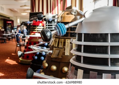 Scarborough, UK - April 08, 2017: Dalek models from the tv series 'Doctor Who' at the Sci-Fi Scarborough convention.