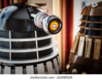 Scarborough, UK - April 08, 2017: Close up shot of Dalek model's eye from the tv series 'Doctor Who' at the Sci-Fi Scarborough convention.