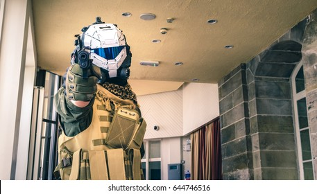 Scarborough, UK - April 09, 2017:  Cosplayer dressed as a character from the video game 'Titanfall' poses at Sci-Fi Scarborough.
