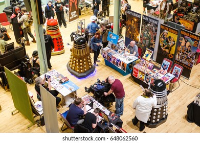 Scarborough, UK - April 09, 2017: Daleks interacting with people by the merchandise stalls at Sci-Fi Scarborough.