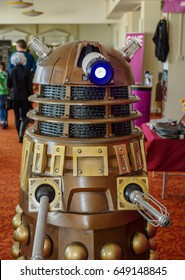 Scarborough, UK - April 09, 2017: Golden Dalek from the TV series 'Doctor Who' at the Sci-Fi Scarborough convention.