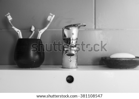 Scarce Water Black White Image Bathroom Sink Stock Photo Edit Now - Black drop in bathroom sink