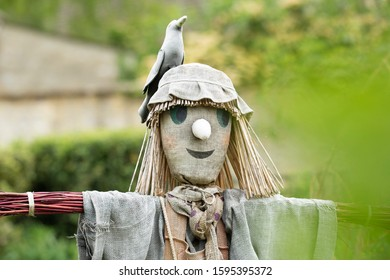 Scarecrow with a bird on its head in a garden in the UK looking through trees with a defocused green foreground