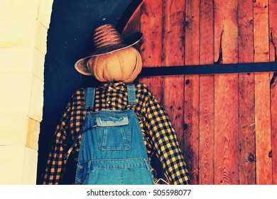 A scarecrow decorate  for Halloween.