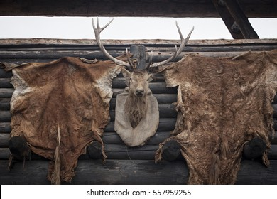 A scarecrow of a deer and skins.