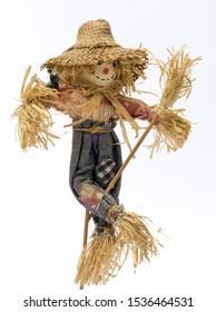 Scarecrow doll on white background
