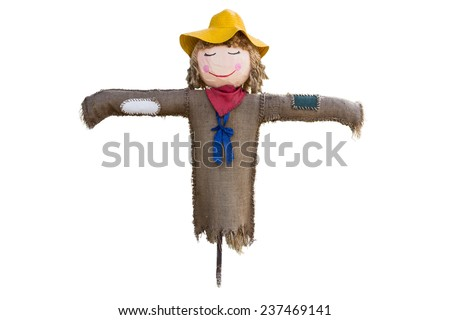 scarecrow dressed in colorful rag clothes. white background