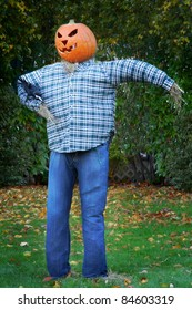 A scarecrow dressed in denim jeans and a blue plaid shirt, with a grinning jack o' lantern (pumpkin) head.