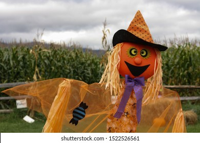Scarecrow at fall corn maze in Vermont