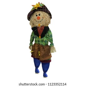 Scarecrow on a white background and Isolated. Scarecrow of Farm.