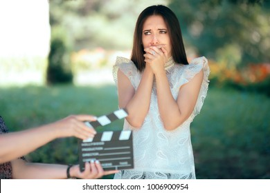 Scared Actress Auditioning for Movie Film Video Casting. Woman reading her part on a microphone for a role