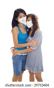 scared asian women with protective masks, isolated on white