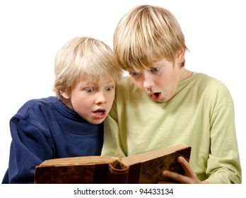 scared brothers reading exciting book