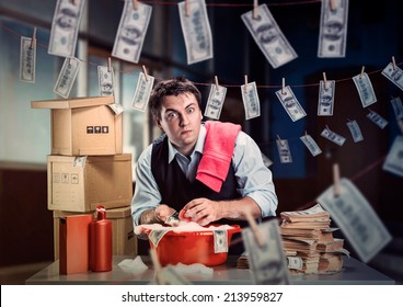 Scared businessman is laundering money