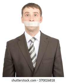 Scared businessman with tape over his mouth