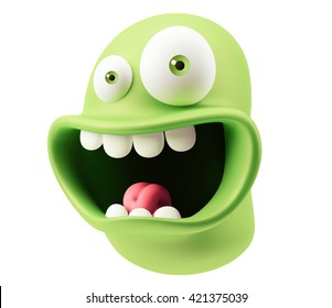Scared Emoticon Face. 3d Rendering.