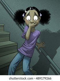 A scared girl on a flight of stairs.