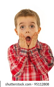 Scared litle kid boy holding hands on face and screaming isolated on white background