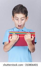 Scared little school kid