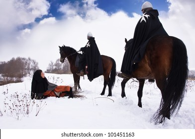 Scared peasant with a firewood bundle and riding knights Hospitallers