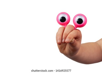 Scared serious cartoonish face with googly eyes hand gesture isolated on white background with copy space