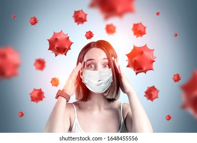 Scared young woman in medical mask standing over gray background with blurry red virus molecules. Concept of coronavirus and Asian flu panic. Toned image