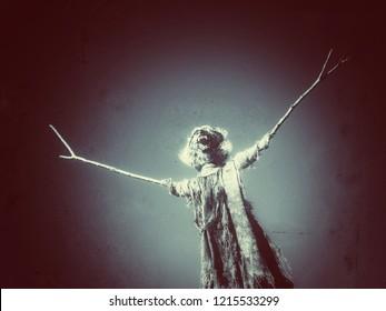 scarey Halloween warewolf scarecrow