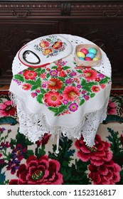 Scarf and bag with Petrykivka painting. Ukrainian handcraft, national arts and easter eggs
