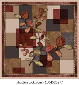scarf design. scarf pattern with colorful leaves and squares