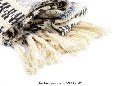 Scarf knitted motley isolated on a white background.
