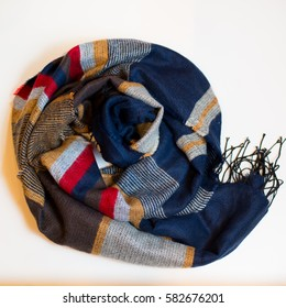 Scarf multicolored clothes on a white background