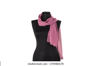 Scarf, shawl on a black mannequin. Isolated