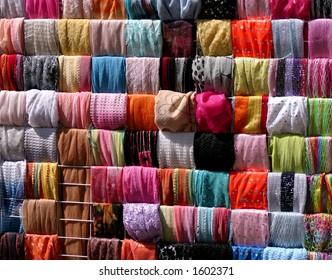 scarfs in the market (Jerusalem).