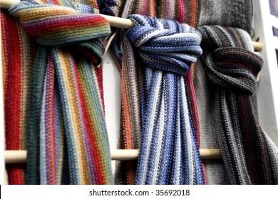 scarfs in street market in Scotland