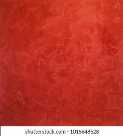Scarlet, red background of smears - Venetian plaster, decorative coating for walls. Interior Design.